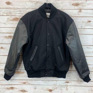 Varsity Base Letterman Jacket, Black, Small